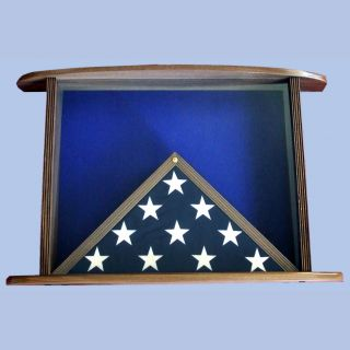 Walnut Front View Displayed With 3x5 Flag